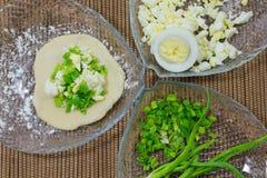 Cipolle verdi ed uova Immagine Stock Libera da Diritti