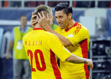 Ciprian Marica celebrates goal in Romania-Hungary Stock Image