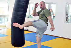 CIPRIAN SORA K1 FIGHTER TRAINING SESSION. Training session of the Romanian K1 fighter and Muay Thai world champion Ciprian Sora. Now, Ciprian Sora has his own Stock Photos
