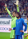 Ciprian Tatarusanu and Georgios Samaras during FIFA World Cup Playoff Game Stock Image