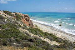 Ciprus海景在帕福斯附近的 免版税库存照片