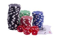 Cips. Gaming plain chips and card royalty free stock image