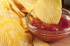 Cips en ketchup Royalty-vrije Stock Afbeeldingen