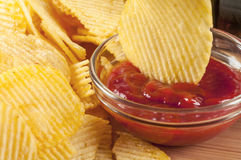 Cips and ketchup Royalty Free Stock Images