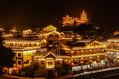 Ciqikou Ancient Town - located in Chongqing, China,. Has thousands of years of mountain towns stock photo