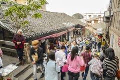 Ciqikou, rues antiques et touristes Images stock