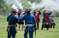 Cira revolucionario 1700-1800 de la batalla de la mofa de la guerra Imagen de archivo