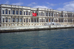 Ciragan Palace Kempinski Istanbul. Ciragan Palace Kempinski in Istanbul on the Bosphorus. Doing a tour with the Bosphorus boat you can see this very beautiful royalty free stock photography