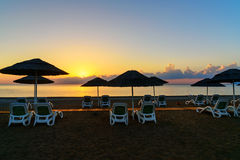 Cirali Olympos beach at sunrise. Turkey Royalty Free Stock Photography