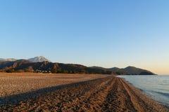 Cirali Olympos beach at sunrise. Turkey. Cirali Olympos beach at sunrise. Antalya Province. Turkey Stock Image