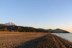 Cirali Olympos beach at sunrise. Turkey. Cirali Olympos beach at sunrise. Antalya Province. Turkey Stock Images