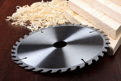 Circ saw blades, planks Stock Photography