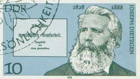 ΑΝΑΤΟΛΙΚΗ ΓΕΡΜΑΝΊΑ - CIRCA 1978: Γραμματόσημο που τυπώνεται στην Ανατολική Γερμανία που παρουσιάζει Joseph Dietzgen, ο μαρξιστικό Στοκ Εικόνες