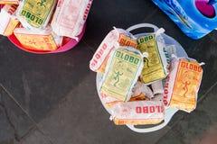 2018, Circa April: Bucket full of a Globo biscuits, a very tradicional brand in Rio de Janeiro . 2018, Circa April: Bucket full of a Globo biscuits, a very stock photos
