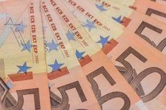 Circa 50 fatture degli euro Immagine Stock