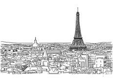 Circa i tetti del disegno fatto a mano di Parigi Immagine Stock Libera da Diritti