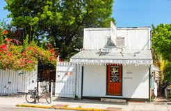 Circa July 2010 Key West Key Florida USA Pepes Cafe Eldest Eating House in the Florida Keys Small white cafe and steakhouse on cit stock photography