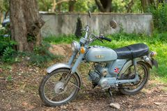 Circa mid 1960 classic and vintage Yamaha motorcycle from Japan. CHONBURI, THAILAND - MARCH 14, 2018 : Circa mid 1960 classic and vintage Yamaha motorcycle from royalty free stock photography