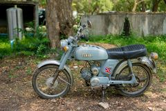 Circa mid 1960 classic and vintage Yamaha motorcycle from Japan. CHONBURI, THAILAND - MARCH 14, 2018 : Circa mid 1960 classic and vintage Yamaha motorcycle from stock photo