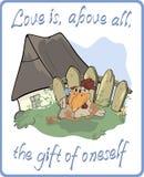 Circa una gallina e una cartolina del gallo illustrazione vettoriale