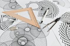 Circinus und geometrische Formen Stockfotos