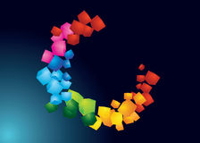 Circle. Illustration of beautiful colorful cubes forming a circle Stock Photography