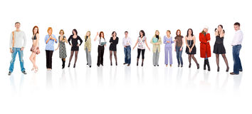 Circle of 17 people. Isolated on white background Stock Photos