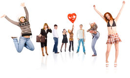 Circle of 17 people Stock Images