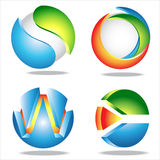 Circle. 4 abstract color circle icons stock illustration