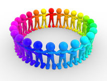 Circle. 3d people - human character in circle. 3d render illustration Stock Image