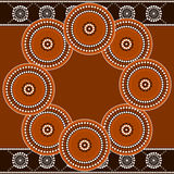 Circle. A illustration based on aboriginal style of dot painting depicting circle Royalty Free Stock Photo