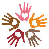 Circle of 5 loving hand prints Stock Photography