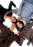 Circle. Group of four smiling young people in circle Royalty Free Stock Image