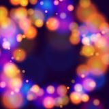 Circle abstract backgroubnd blur light effect03. Blur dark purple gradient background of bright glow perspective with lighting bokeh circles with space place for Stock Photos