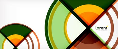 Circle abstract background, bright colorful round geometric shapes. Vector illustration stock illustration