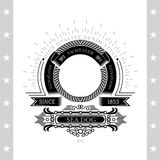 Circle Abstract Frame From Cord And Winding Ribbons On White. Circle Abstract Frame From Cord And Winding Ribbons. Marine Label With Coat of Arms Isolated On Stock Image