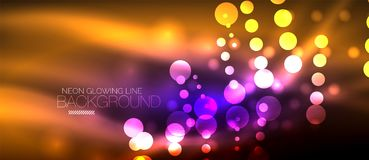 Circle abstract lights, neon glowing background. Vector digital template Royalty Free Stock Photography