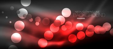 Circle abstract lights, neon glowing background. Vector digital template Stock Images