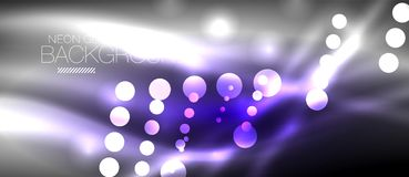 Circle abstract lights, neon glowing background Royalty Free Stock Photography