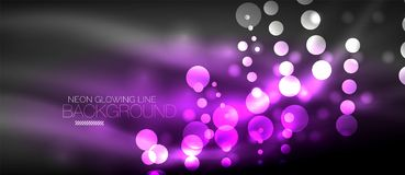 Circle abstract lights, neon glowing background Royalty Free Stock Image