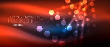 Circle abstract lights, neon glowing background. Circle abstract lights, red neon glowing background. Vector digital template Stock Photo
