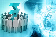 Circle of abstract people around Rupee Stock Images