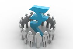 Circle of abstract people around Rupee Royalty Free Stock Image