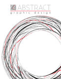 Circle. Abstract template with black, red and gray strips Stock Photos