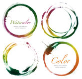 Circle acrylic and watercolor painted design elements. Stock Image