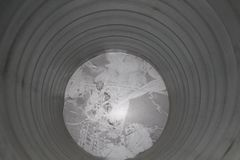 Circle steel air duct. view from inside. Circle air duct mad from stainless steel royalty free stock images