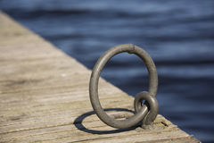 Circle  on apier. Circle on a wooden pier Royalty Free Stock Images