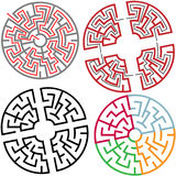 Circle and Arc Maze Puzzle Parts with solution stock illustration