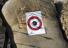 Circle archery target for arrows as a background. Arrow range field practice target. Arrows missed target stock images