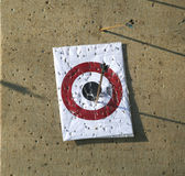 Circle archery target for arrows as a background. Arrow range field practice target. Arrows missed target stock photos